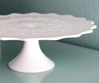 Milk Glass Cake Stand / Vintage Cake Stand Pedestal for
