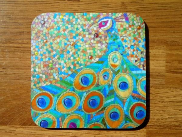 Coaster Beautiful And Bold Mosaic Peacock Art