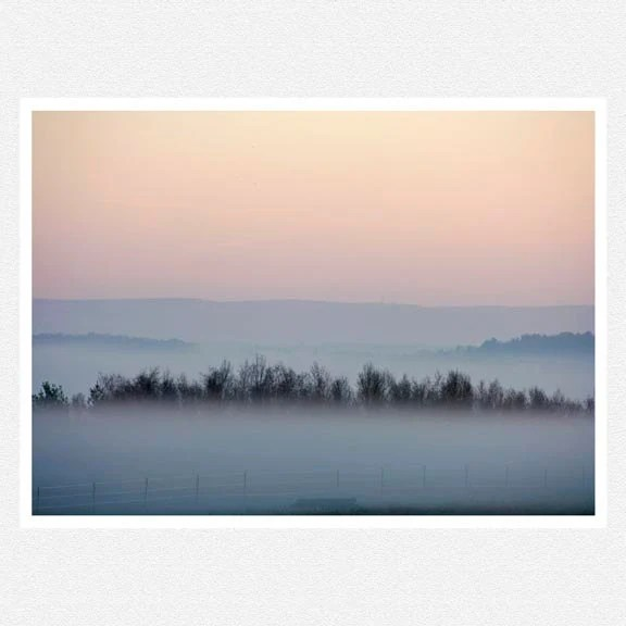 Nature Photography, fog, pale pink, trees, gray, Foggy Mountain Morning nature fine art photography print 812 - moonlightphotography