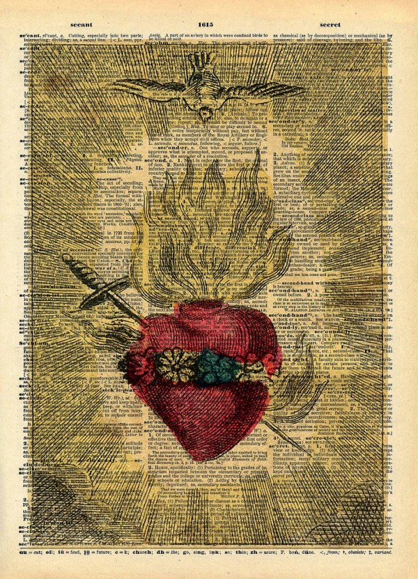 Vintage Book Art Print Antique Sacred Heart Upcycled