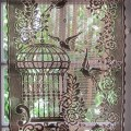 Brown lace curtain french window curtain bird by hatchedinfrance