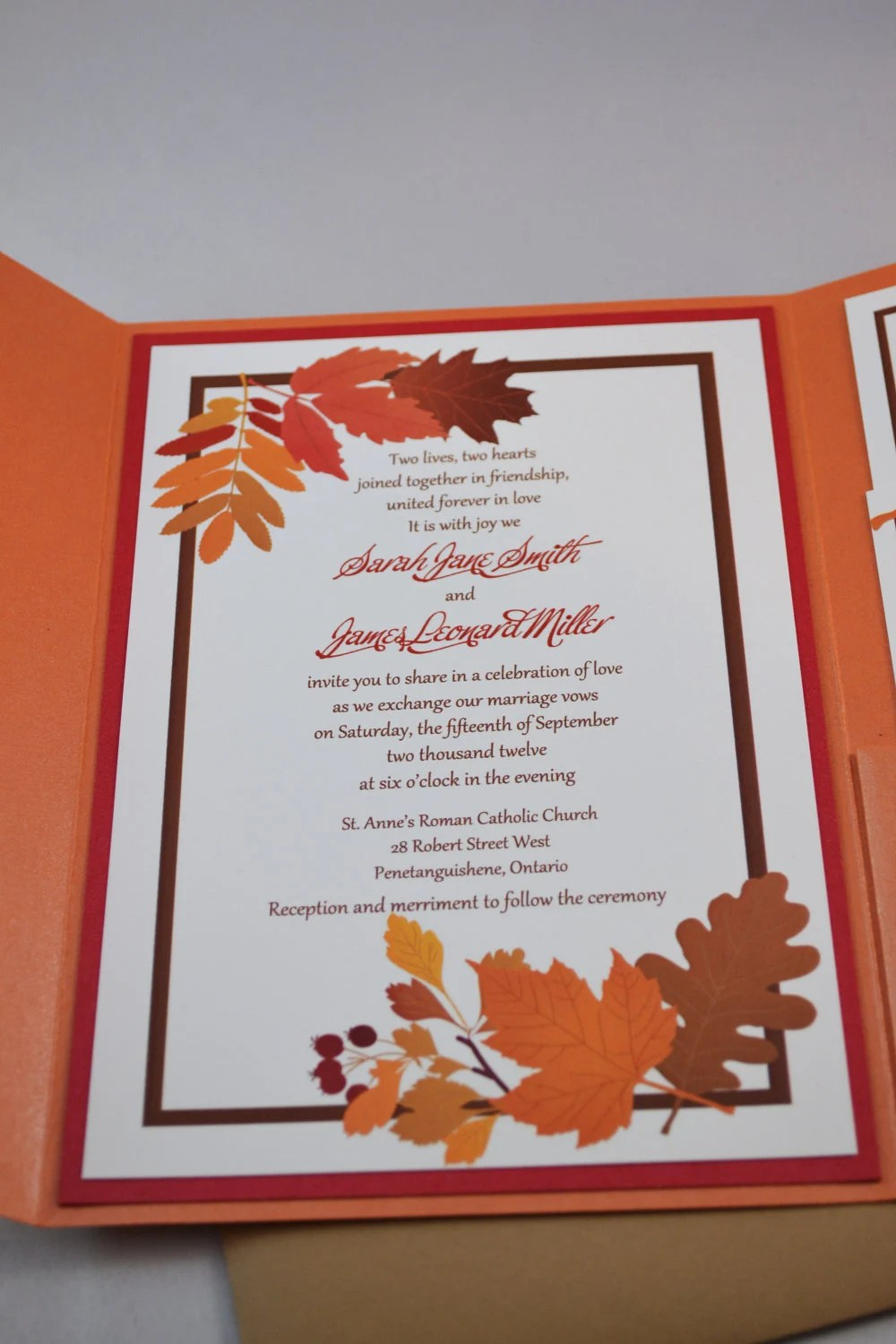 Items similar to Printable PDF Fall Wedding Invitations for the DIY Bride on Etsy