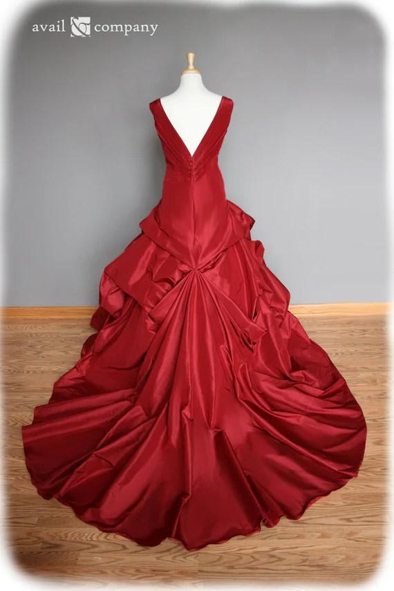 Red Wedding Dress Ball Gown Silk Taffeta Custom Made to