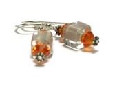 Furnace Glass, Dangle Earrings, Off White, Ecru, Orange, Swarovski Elements Crystal Sun - LandKbeads