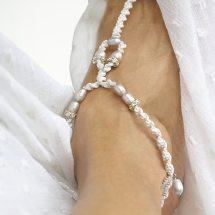 White Wedding Bridal Glamor Barefoot Sandal Anklet Pearl