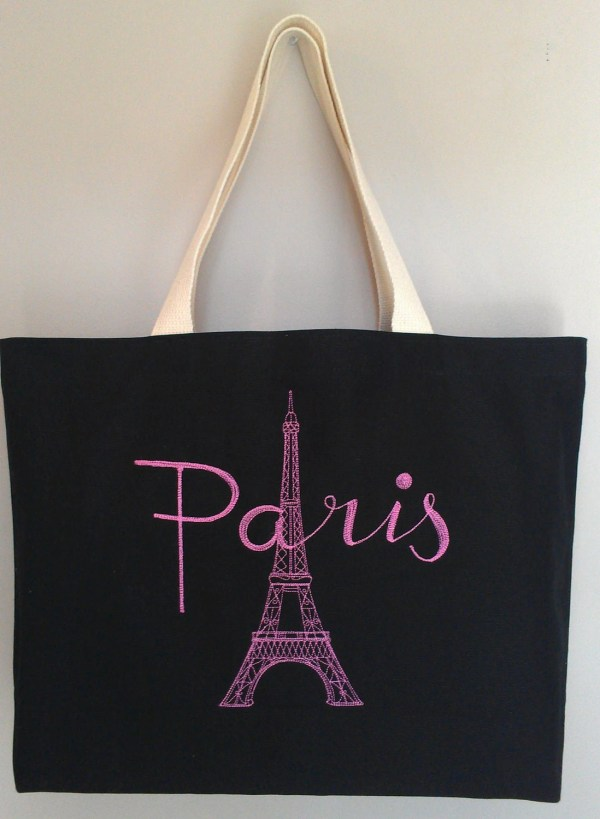 Paris Eiffel Tower Tote Bag Purse Pink Embroidery Black