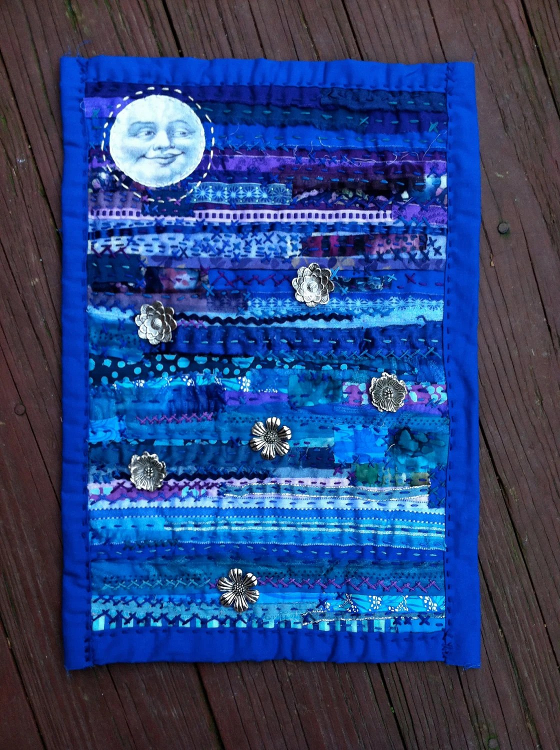 Items Similar To Art Quilt Fiber Collage Mixed Media Wall Hanging Smiling Man In The Moon