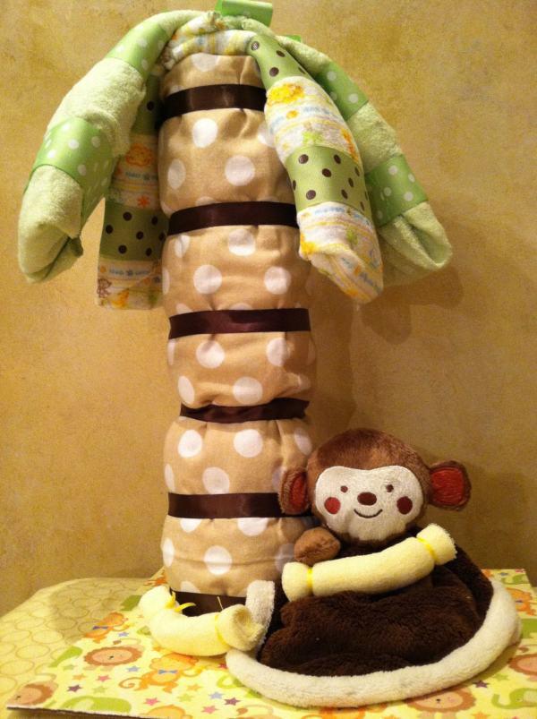 Monkey Diaper Cake Jungle Baby Shower Animal