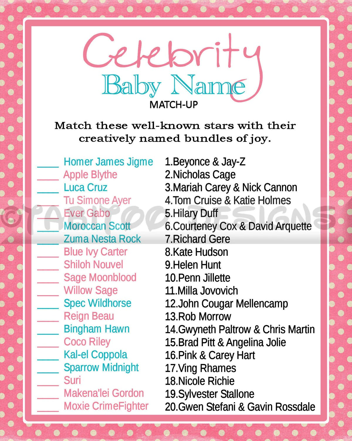 Celebrity Baby Name Match Up Game Baby Shower Printable