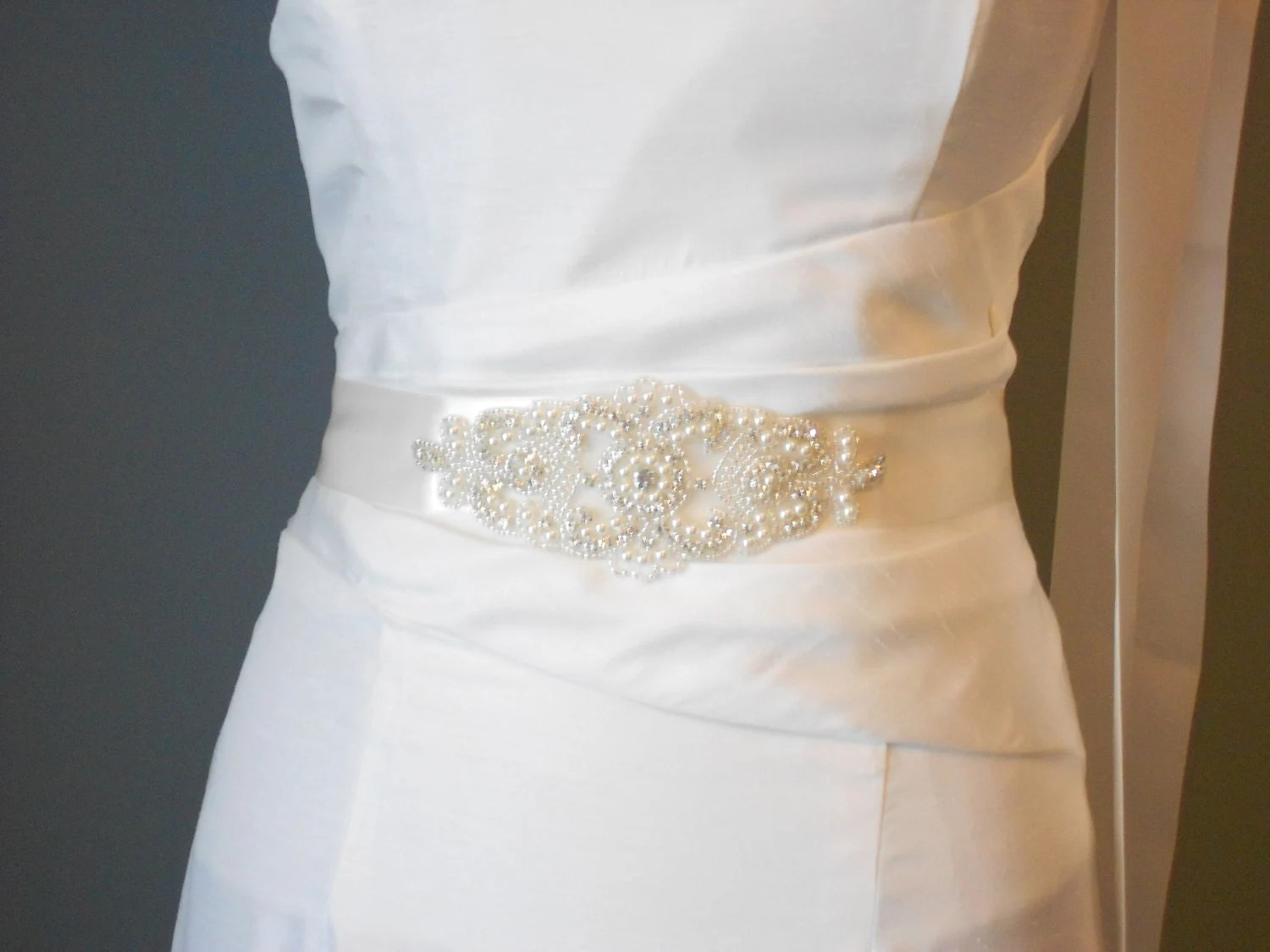 Bridal Sash Beaded Sash Wedding Dress Sash Rhinestone Sash