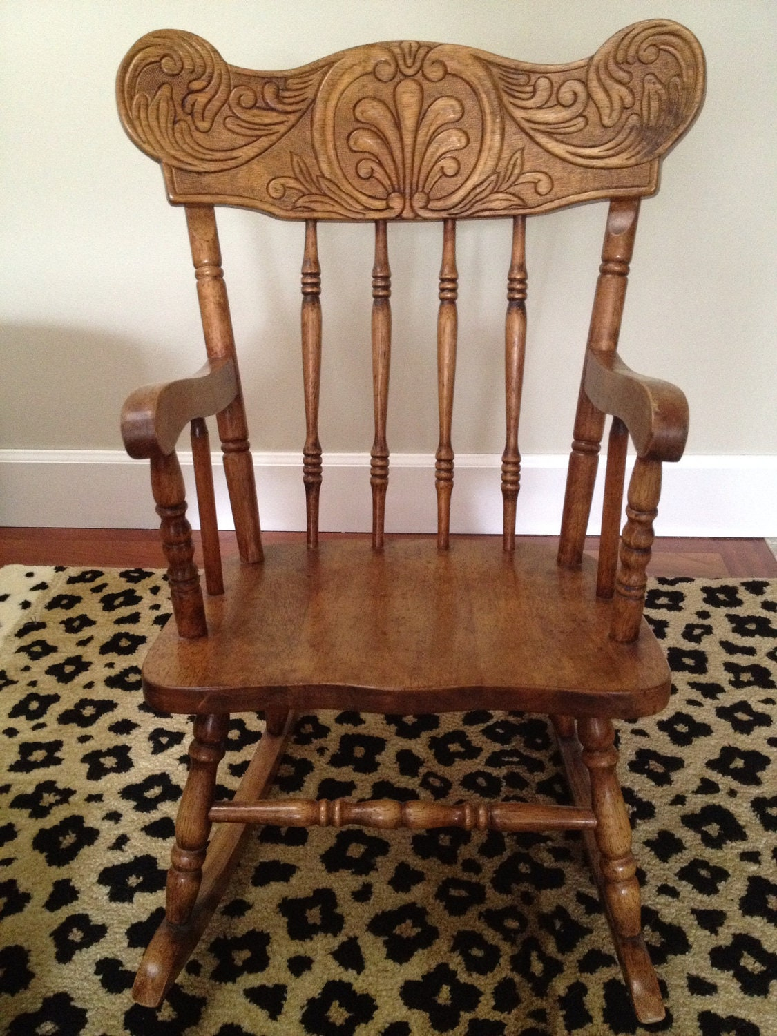 unfinished wood rocking chair baseball folding chairs vintage child 39s solid with by regalgoods