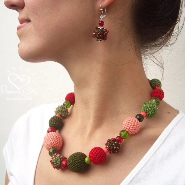 Unique Crochet NECKLACE seed beaded Red Green Pink crocheted