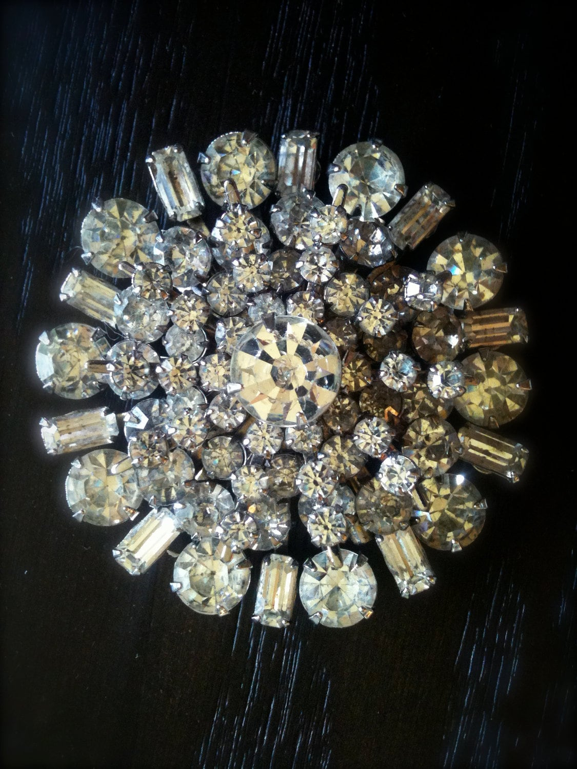 Extra Large Vintage Rhinestone Brooch By Crazyplatter On Etsy