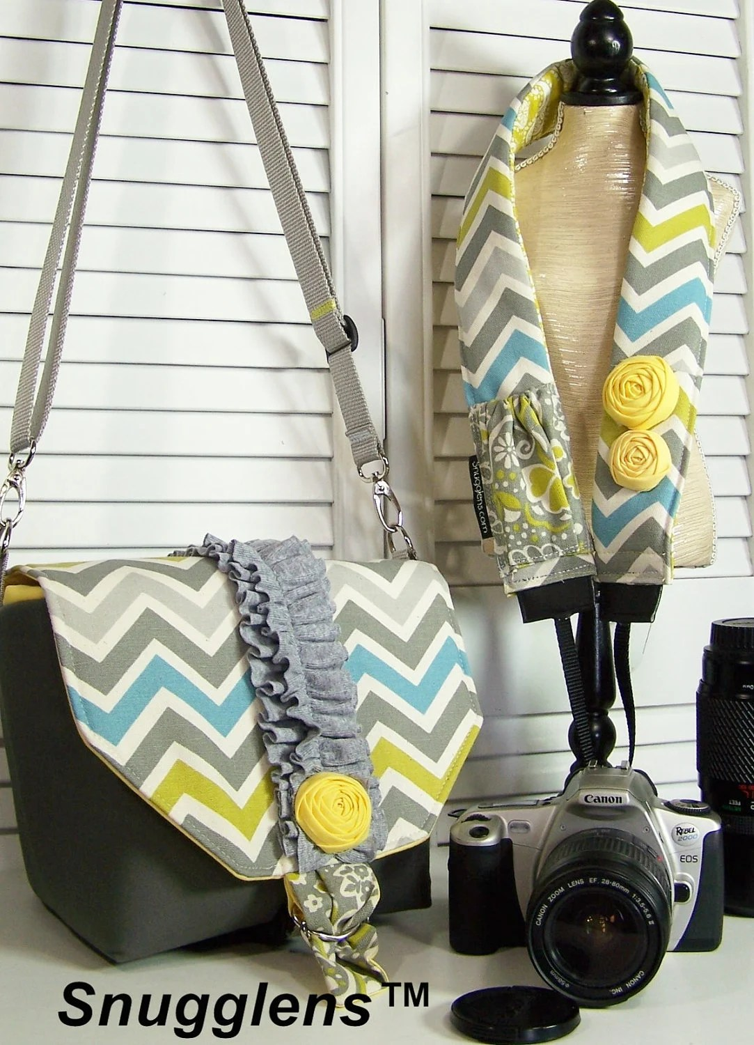 PreOrder Camera Bag  Purse insert MINI gray-yellow-chevron-ruffles and rosette-Includes camera strap w/lens cap pkt-Snugglens