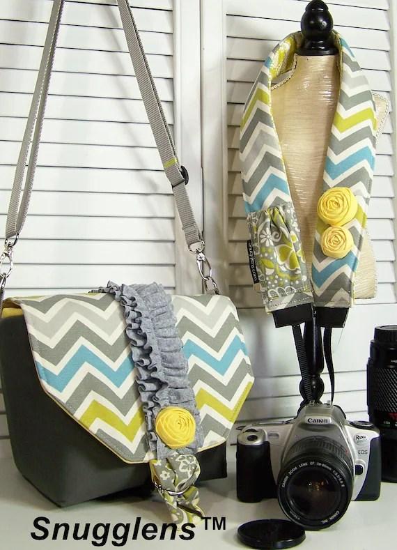PreOrder Camera Bag  Purse insert MINI gray-yellow-chevron-ruffles and rosette-Includes camera strap w/lens cap pkt-Snugglens