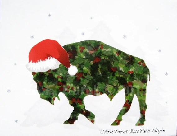 Holly Buffalo in Santa Hat - Blank Christmas Holiday Note Cards - SET of 2 - SilentMyloStudio