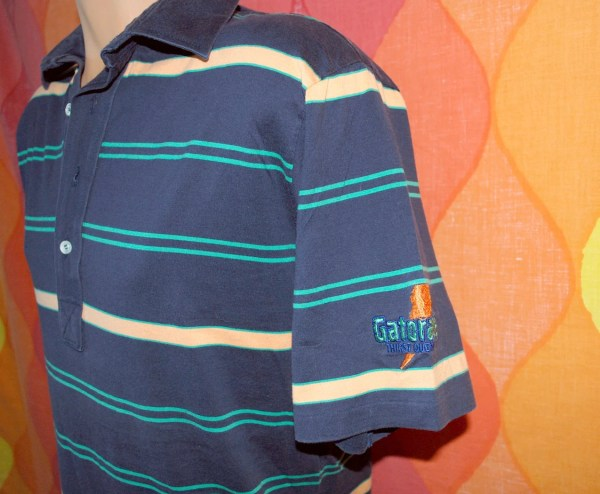 Vintage 80s Golf Shirt Navy Striped Gatorade Polo Large