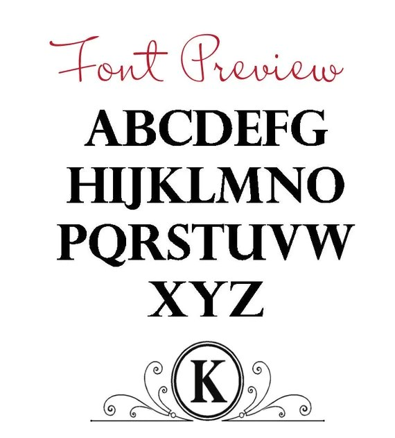 Vinyl Decal Monogram Letter with Scrolls 10 X 5 by