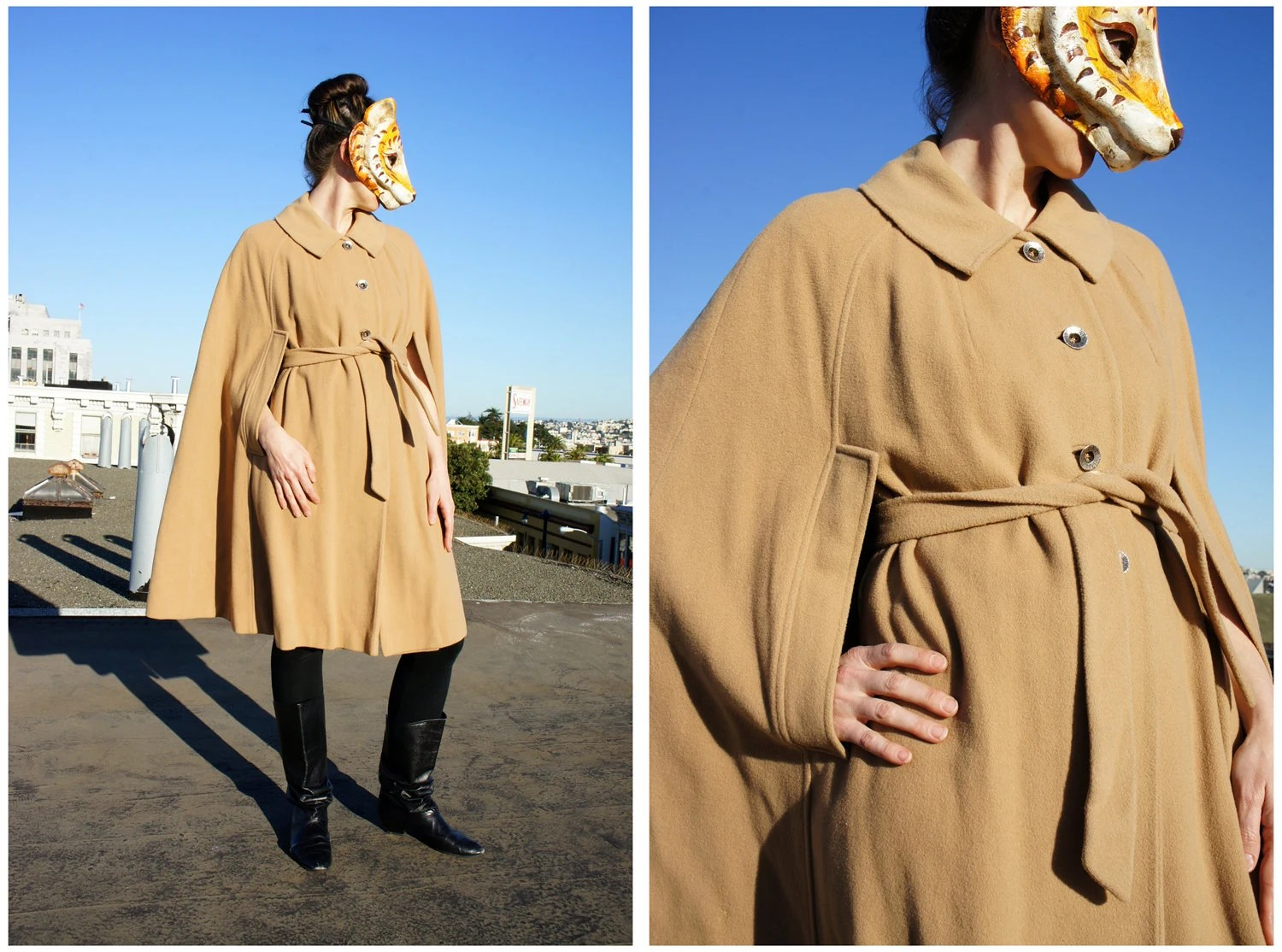Vintage 60's Long Camel Cape with Belt