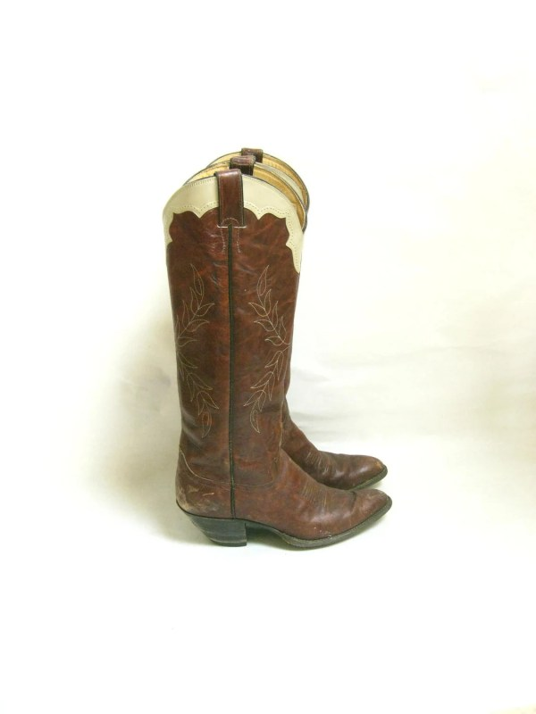 Vintage 70s Justin Tall Cowboy Boots Size 8 by