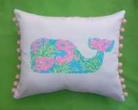 New custom Whale Pillow MW Lilly Pulitzer Snow Birds fabric