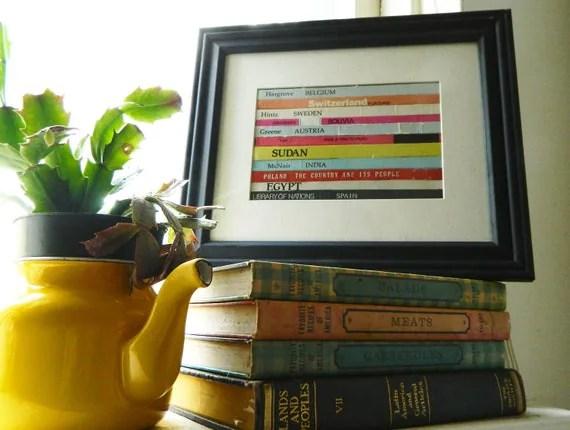 Travel Inspired Framed Wall Art/Decor , Recycled Vintage Book Bindings Framed