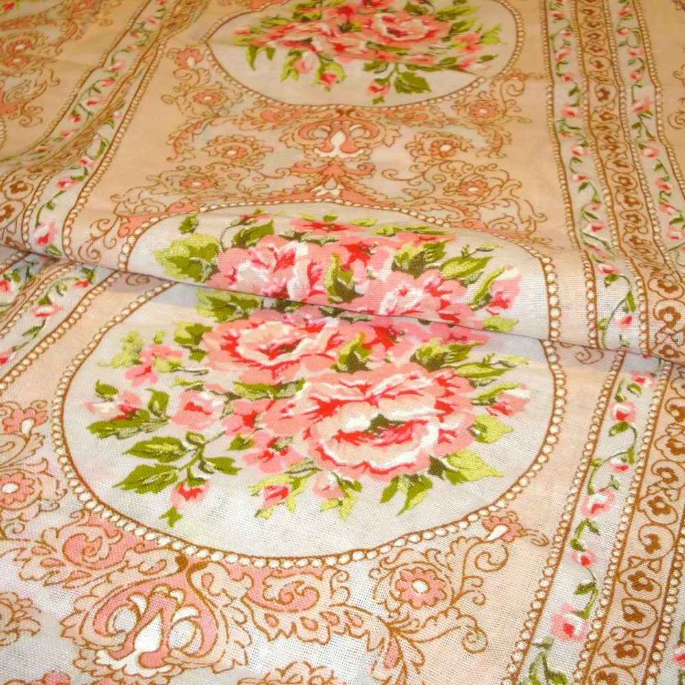 Large Print 60s Floral Fabric Boho Victorian Shabby Chic