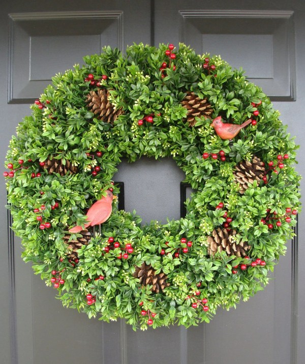 Christmas Faux Boxwood Wreath With Red Cardinals
