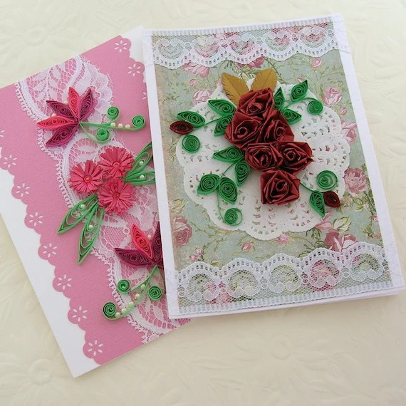 Quilling Greeting Cards Paper Quilled Sale Set Of Two Rose And