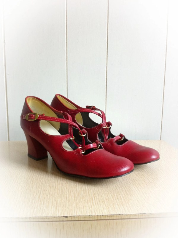 1970s Red Mary Jane Shoes With Chunky Heels Hibrows