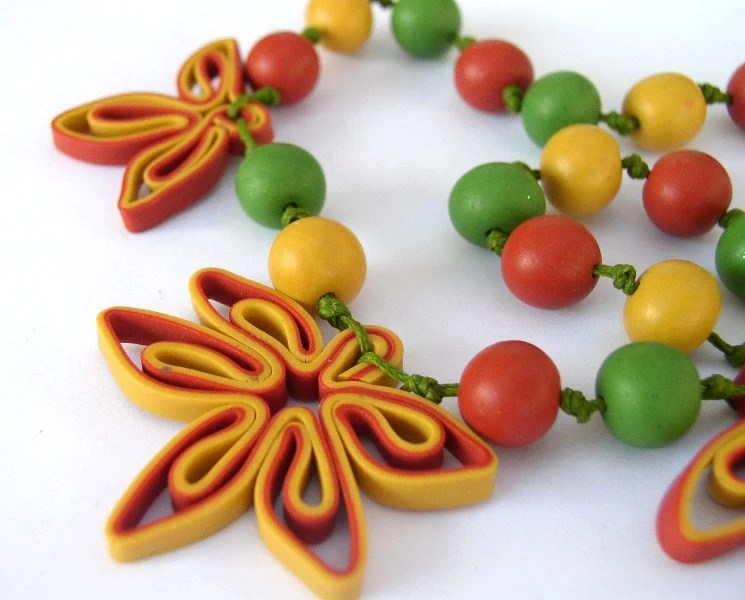 Autumn Necklace - Handmade Polymer Clay Flowers Necklace