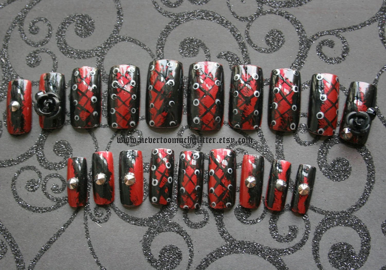 Gothic Nail Art- Wicked- 3D Goth Press On Nails