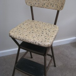 Vintage Cosco Step Stool Chair Dining Room Chairs Leather Vinyl Padded Flip Up Seat