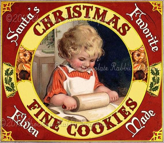 Christmas Cookies Vintage Label Tag Digital Download Printable