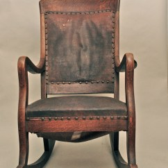 Rocking Chair Leather And Wood Design Lady Antique High Back Oak With Seat