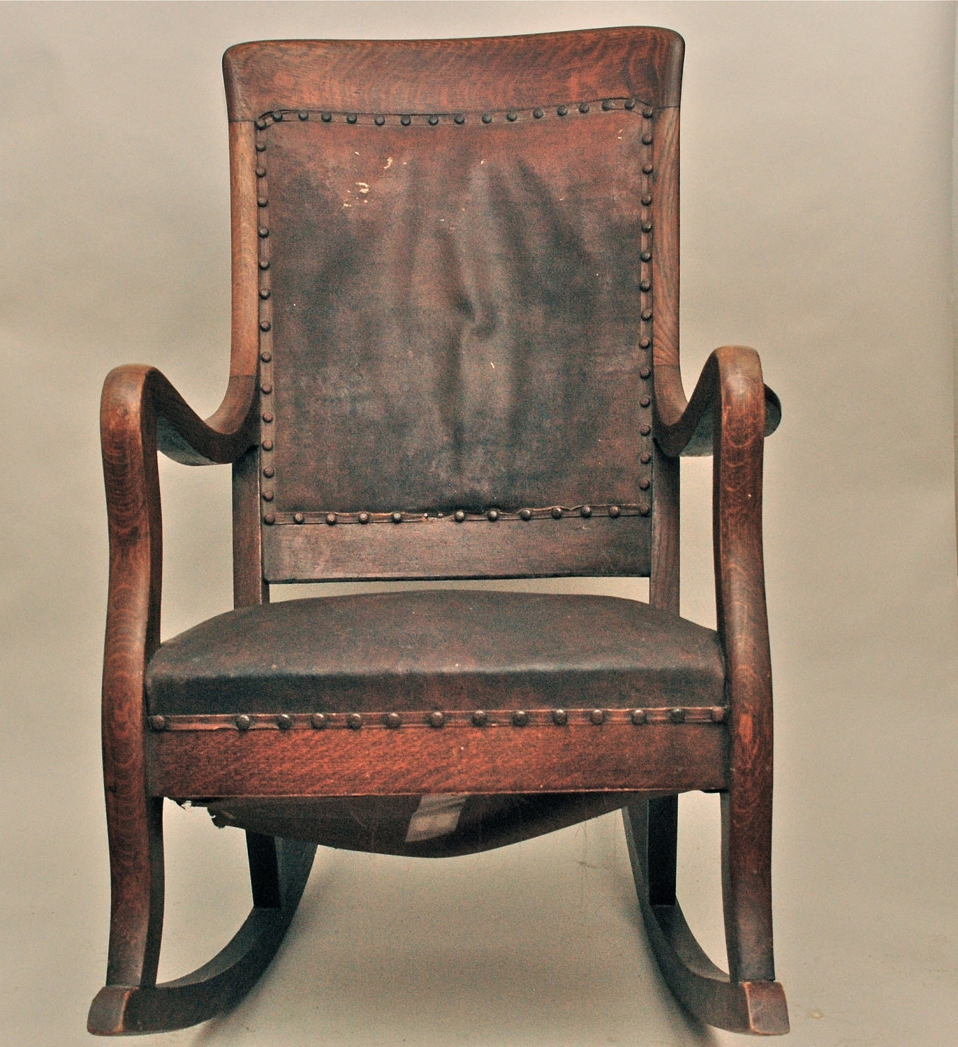 Antique Rocking Chair Antique High Back Oak Rocking Chair With Leather Seat And Back