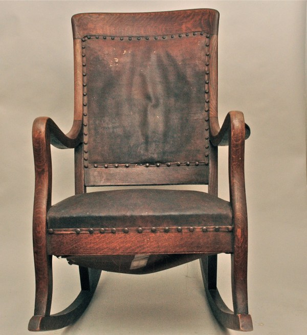 Antique Rocking Chair with Leather Seat