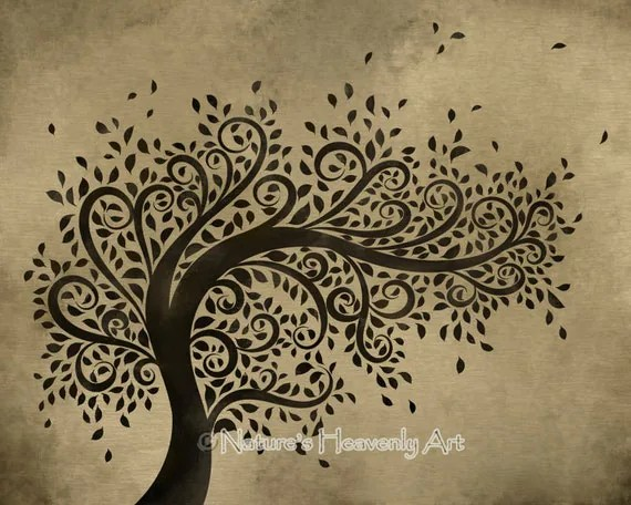 Whimsical Art Tree Wall Print Curly Branches Blowing Leaves