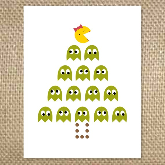 Ms. Pacman Christmas Tree Card - uluckygirl