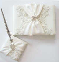 Wedding Guest Book and Pen Set with Beaded Alencon Lace Ivory