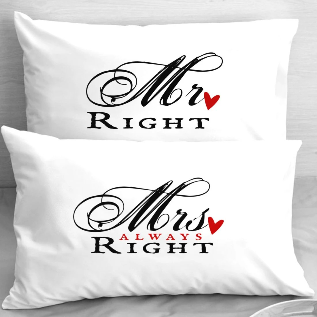 Mr Right Mrs Always Right Kissen Mr Right Mrs Always Right Anniversary Pillowcases Newlyweds
