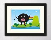 A3 wall art print poster of a big black monster on a colourful, magical island and rainbow there as well - thenosuchdisco