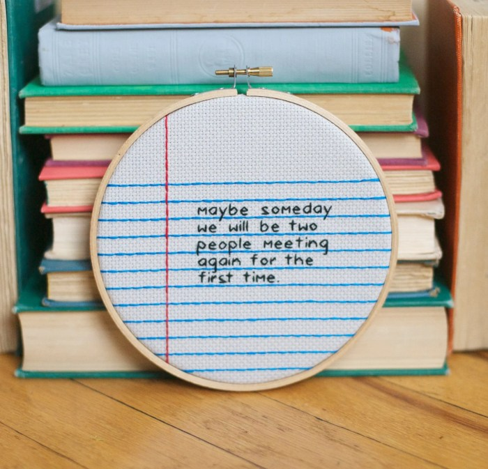 choose your own message / notebook paper cross stitch wall hanging hoop / rugglesmade