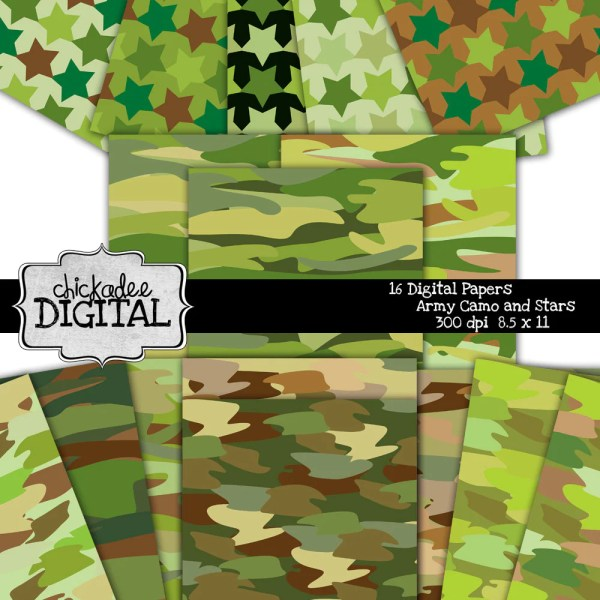 Army Camo Digital Papers Camouflage Backgrounds