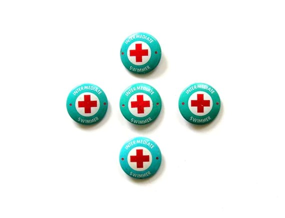 Red Cross Pin Swimming Lessons 5 Vintage Pinback Buttons Turquoise White Instant Collection Summer Fun