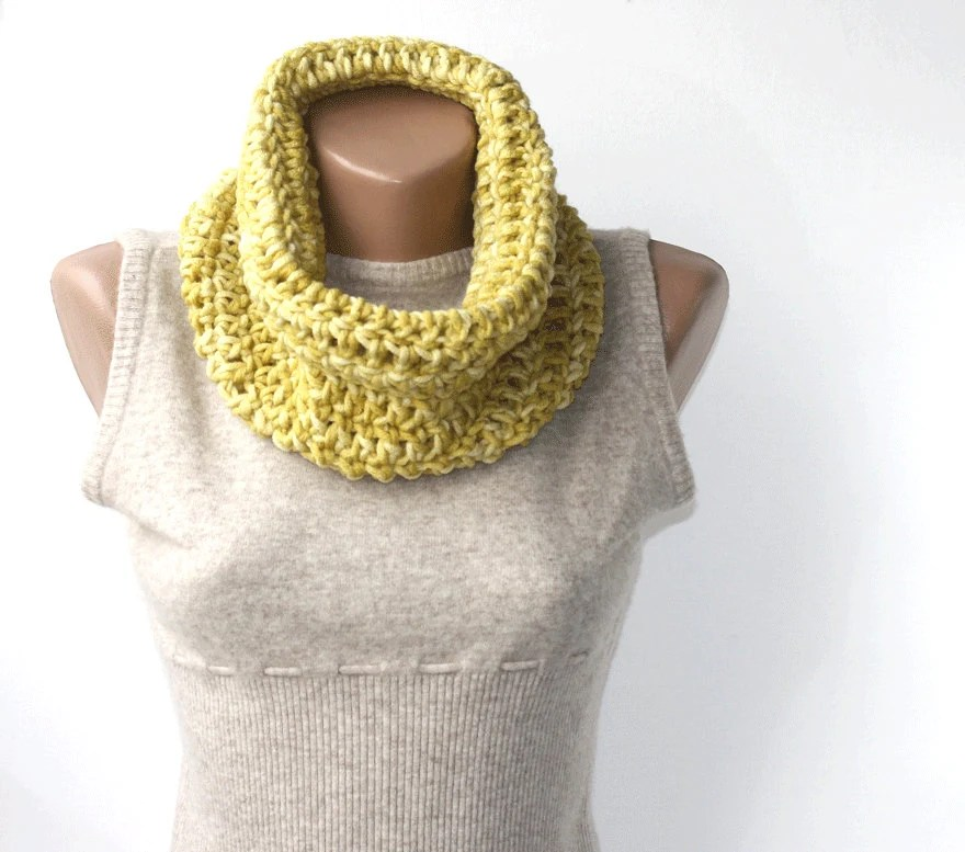 WINTER SALE Winter cowl - green yellow scarf - old gold cowl - crochet neckwarmer  - gift under 25 for women - christmas gift idea - violasboutique