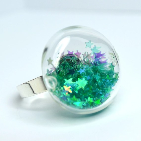 Teal star glitter in round blown glass silver tone Ring - thestudio8