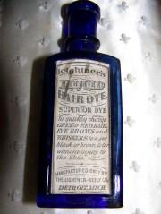antique hair dye bottle 1906 cobalt