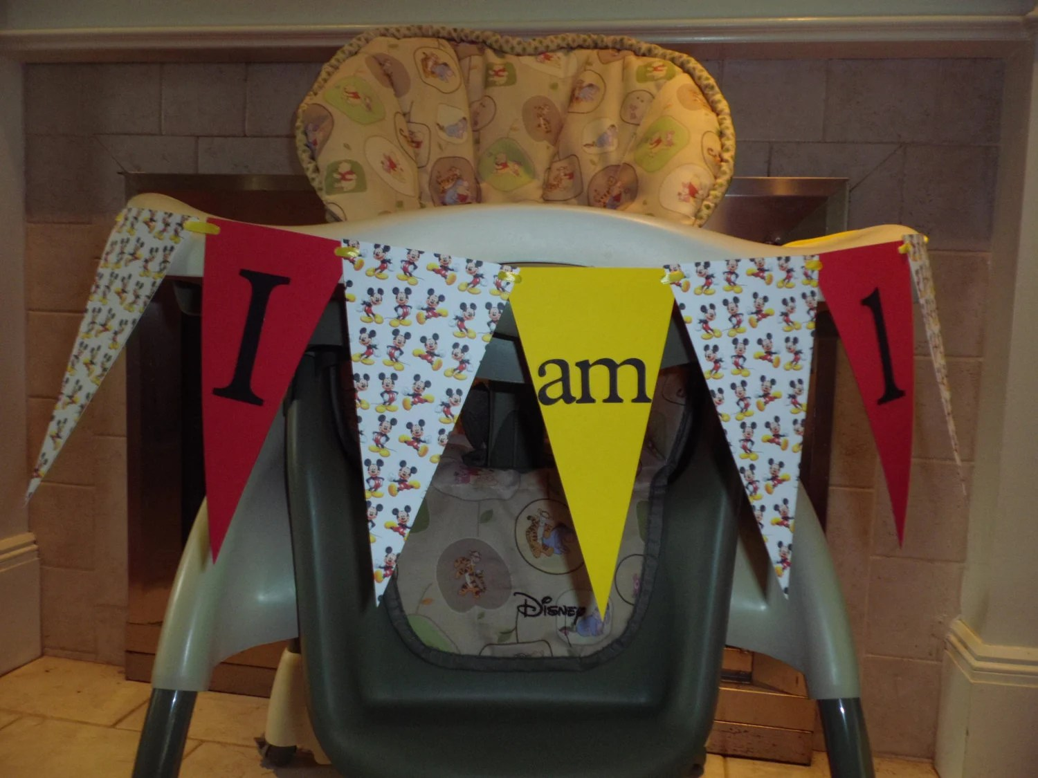 mickey mouse high chair decorations cheap spandex folding covers for sale banner i am 1 boy by