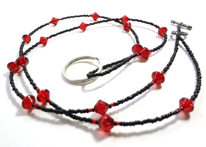 Red and Black ID Badge Lanyard Necklace - MegansBeadedDesigns